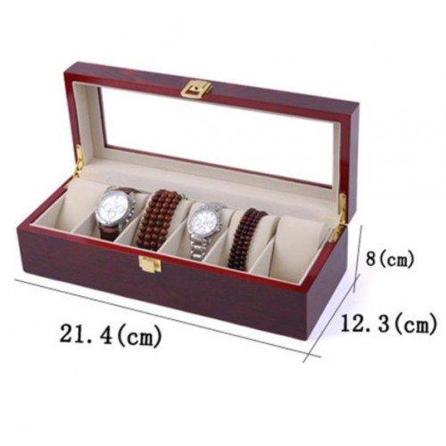 Cutie ceasuri  eleganta din lemn pentru 6 ceasuri