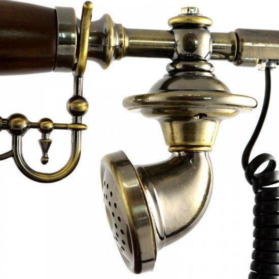 Telefon vintage cu caseta din lemn si taste din cupru