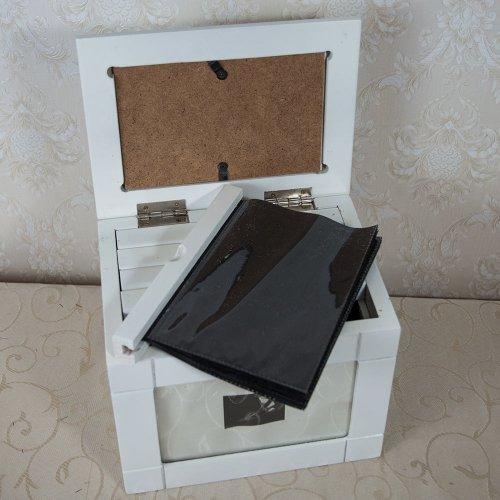 Arhivator foto din lemn, alb, pentru 120 poze
