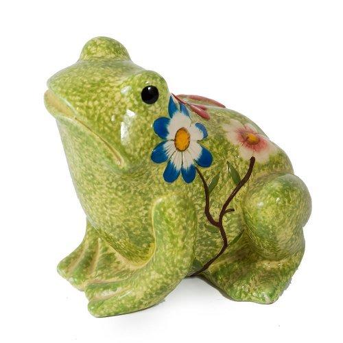 Broasca decorativa, din ceramica, cu flori pictate