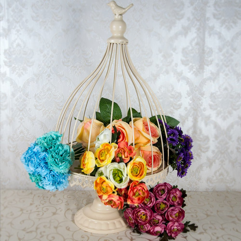 Colivie decorativa, crem, suport aranjamente florale cu capac