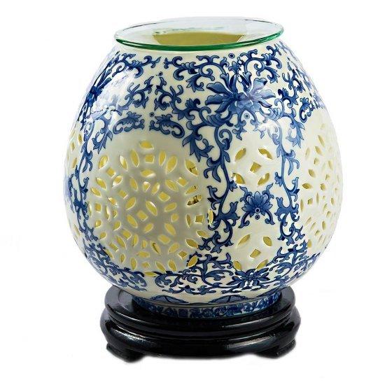 Lampa aromoterapie din ceramica, design floral albastru
