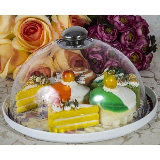 Platou mare din ceramica Delicious cu capac transparent