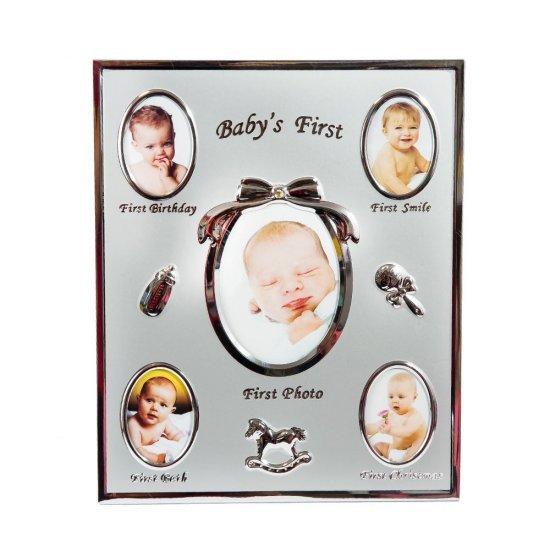 Rama foto, argintie, cu primele momente din viata bebelusului
