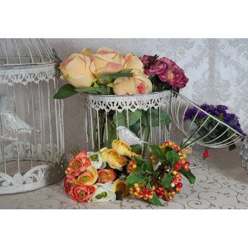 Set 2 colivii vintage, cu pasari decorative, suport pentru flori