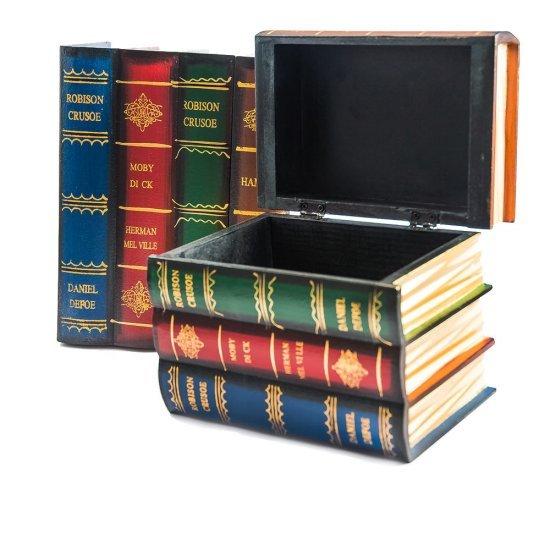Set 2 cutii depozitare, sub forma de carti colorate, din lemn