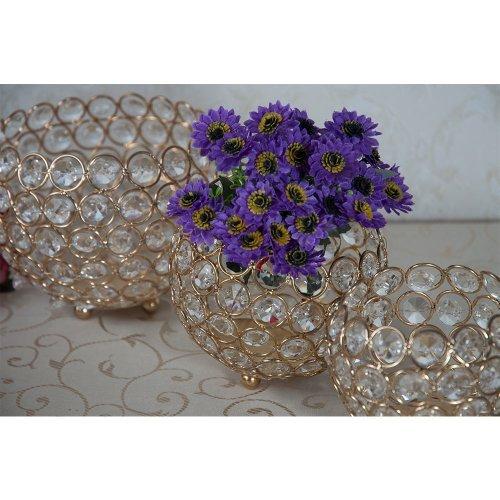 Set 3 boluri aurii, cu cristale, suport lumanare sau flori
