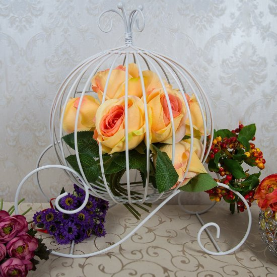 Suport floral, alb, model caleasca rotunda din metal