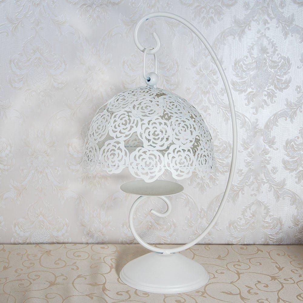 Suport pentru lumanare, din metal, decorat cu trandafiri albi