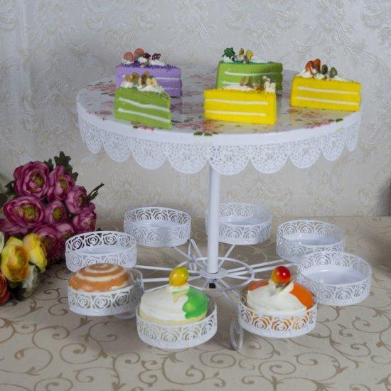 Suport Pentru Tort Si Briose Model Dantelat Cu Imprimeu Trandafiri