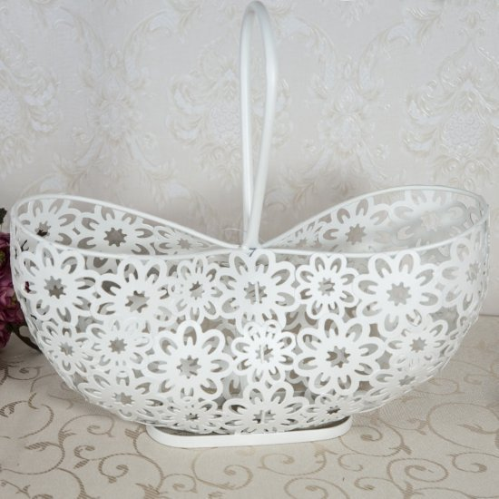 Suport poseta, alb, cu motive florale, pentru flori