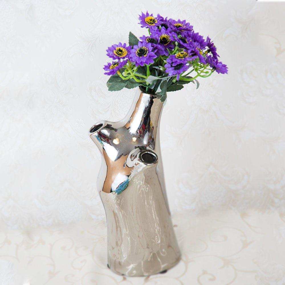 Vaza argintie, lucioasa, cu 3 gauri pentru flori