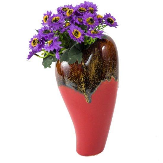 Vaza inalta, forma inima, model rosu cu maro