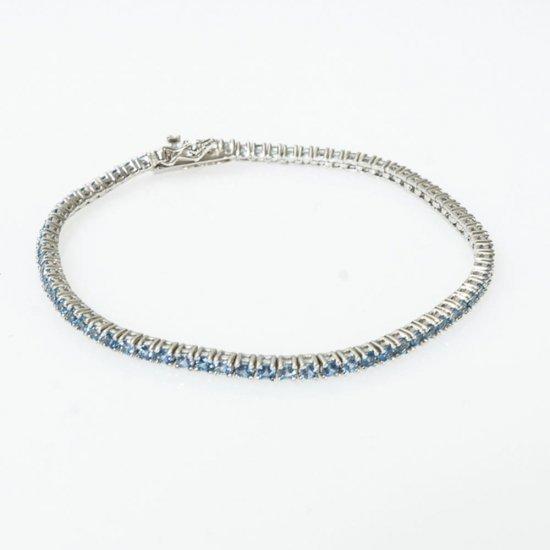 Bratara din argint Model Tennis cu cubic zirconia aquamarine