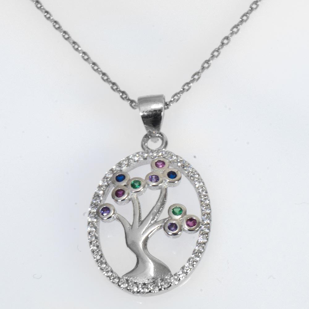 Colier din argint copacul vietii cu strasuri