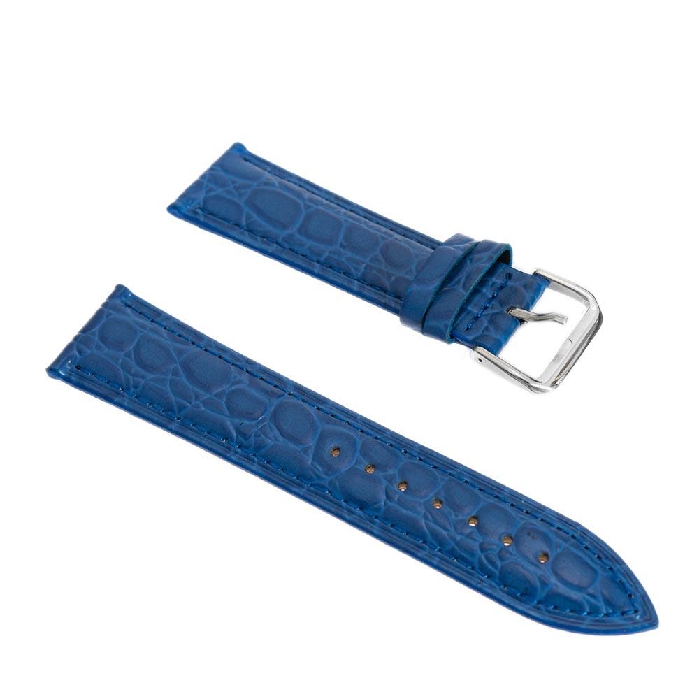 Curea pentru ceasuri albastra model croco