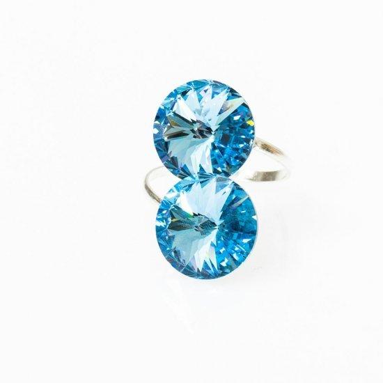 Inel argint reglabil cu zirconia aquamarine mari