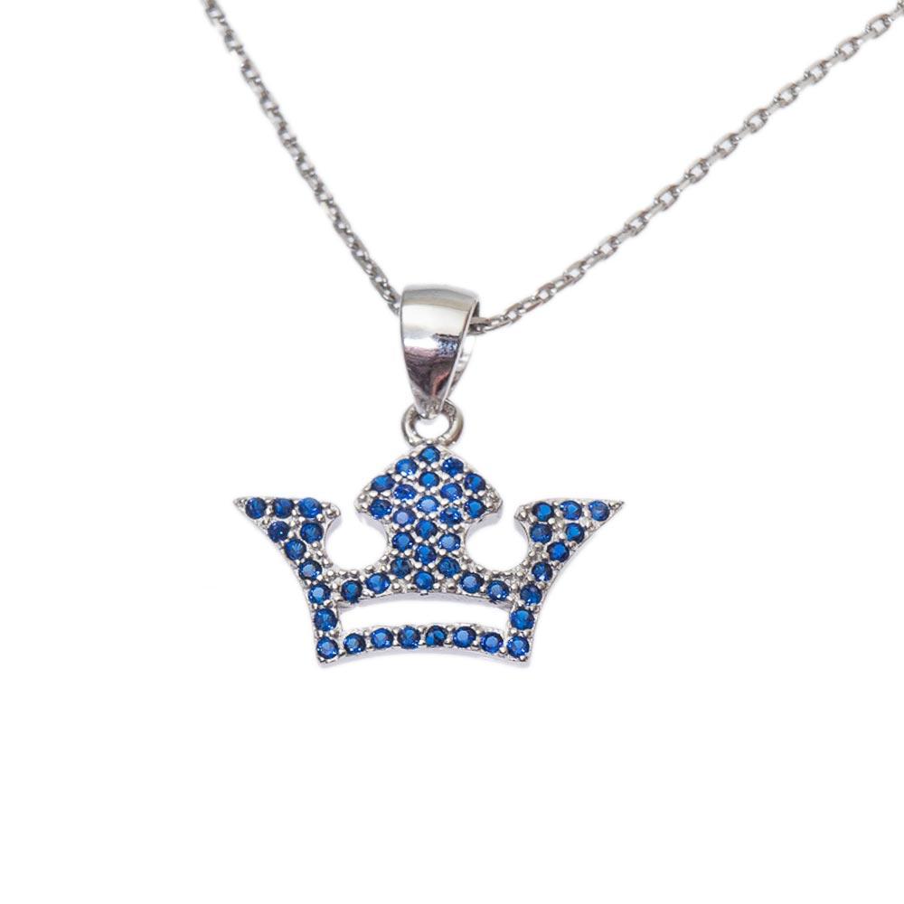 Pandantive din argint cu strasuri albastre si coroana