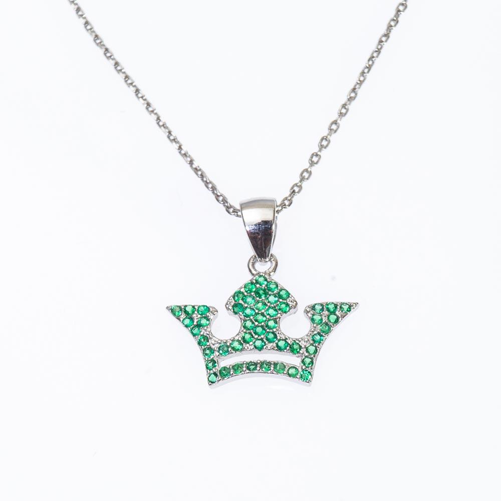 Pandantive din argint cu strasuri si coroana verde