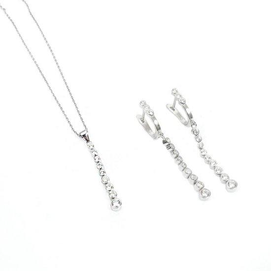 Set bijuterii argint cu pietricele din zirconiu