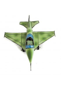 Avion verde, macheta decorativa din metal