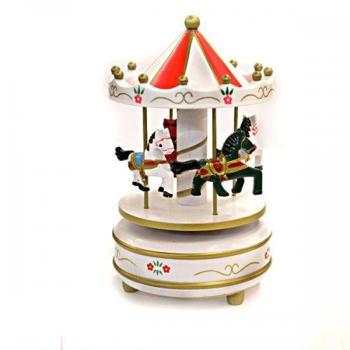 Carusel Alb Cu Caluti Colorati