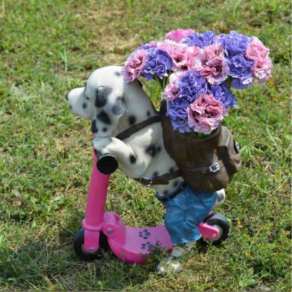 Catel pe trotineta roz - ghiveci pentru flori