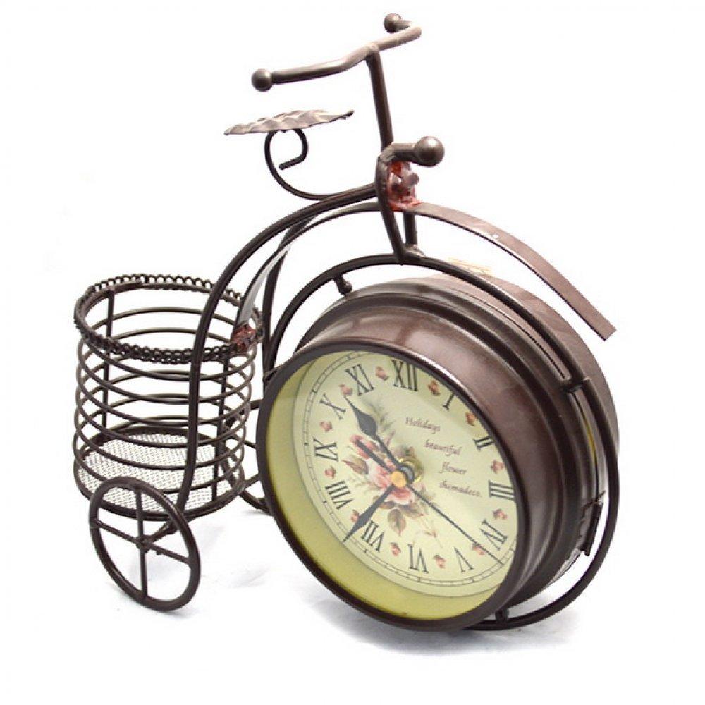 Ceas cu cadru in forma de bicicleta si suport pentru pixuri
