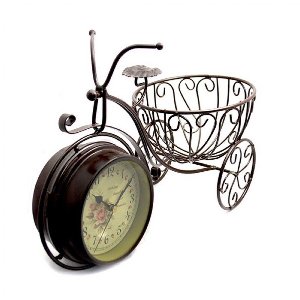 Ceas cu cadru in forma de bicicleta si suport rotund