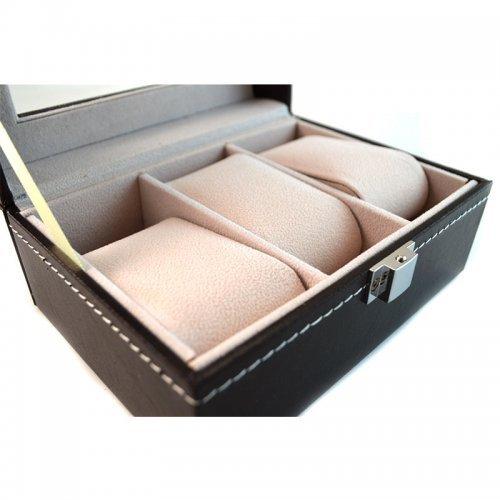 Cutie pentru ceasuri cu 3 spatii din piele ecologica neagra