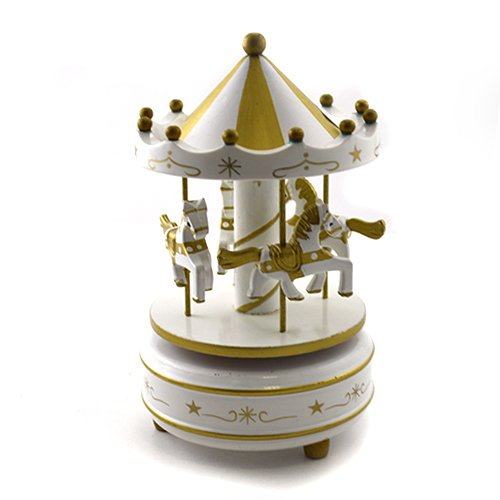 Cutiuta muzicala - carusel auriu si alb cu 4 cai