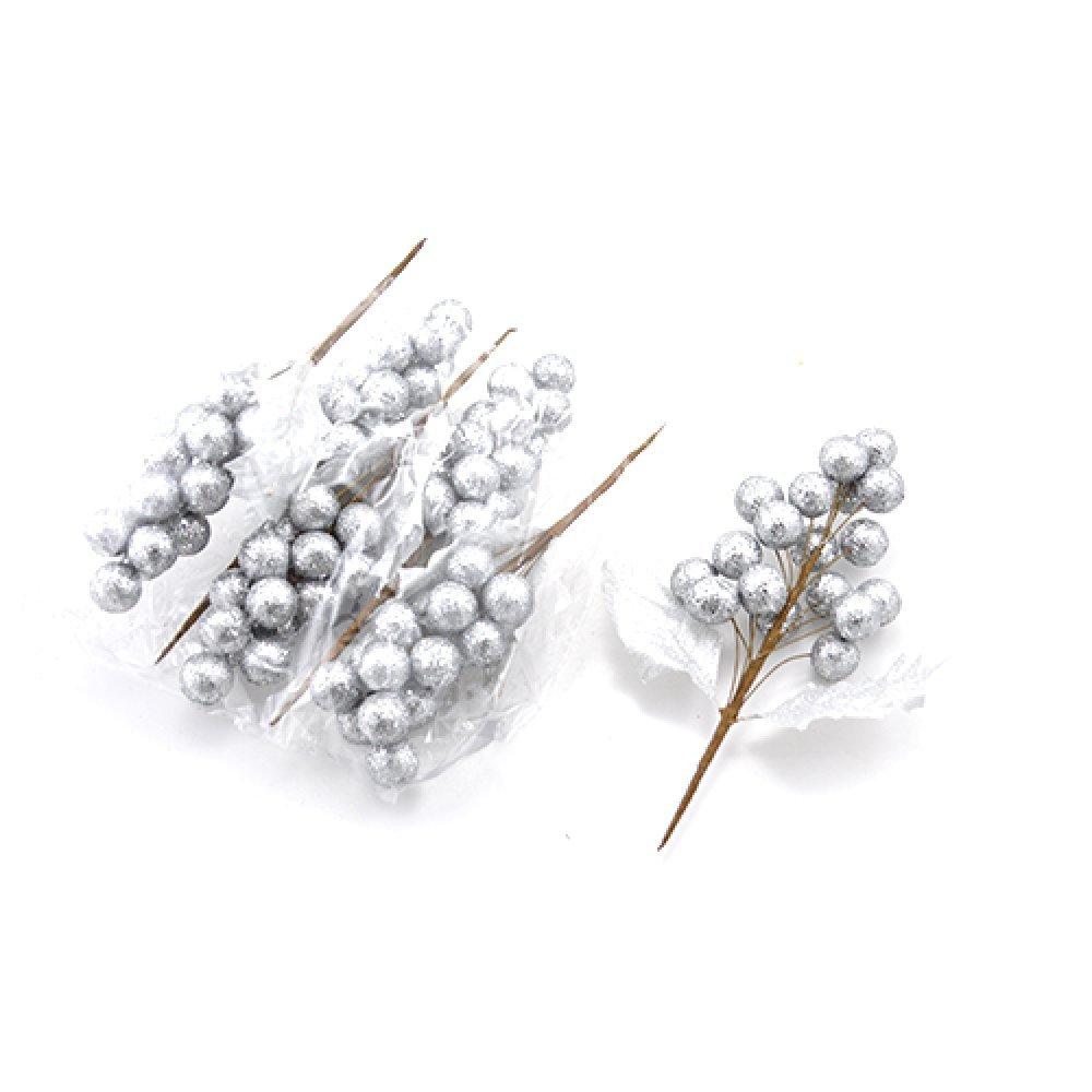 Decoratiune de craciun set 6 struguri argintii