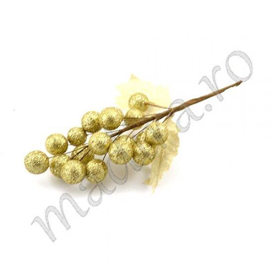 Decoratiune de craciun set 6 struguri aurii