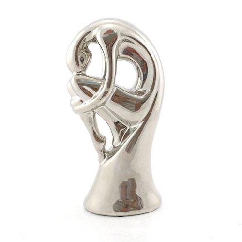 Decoratiune Interioara - Statueta Femeie Ceramica Argintie 2
