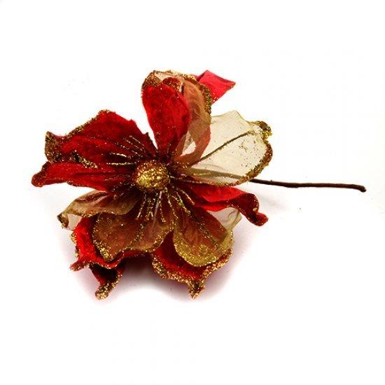 Decoratiune pentru craciun floare rosie cu sclipici