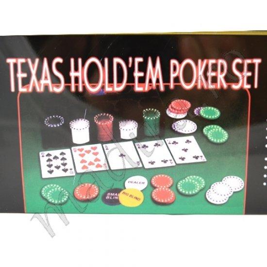Joc de poker cu jetoane carti de joc si fata de masa