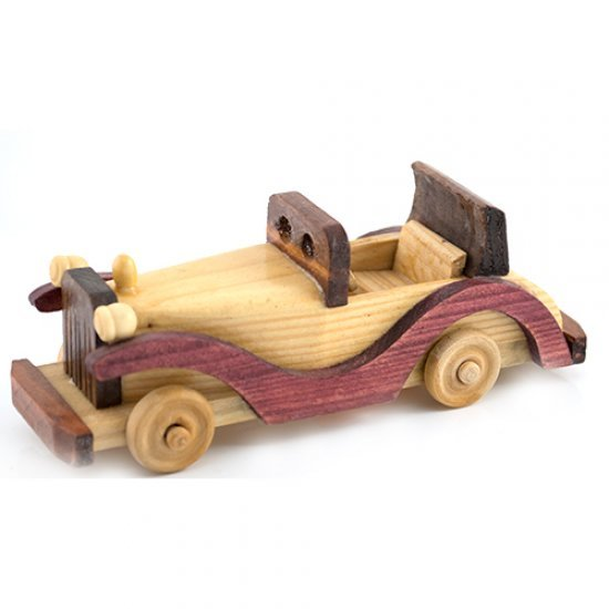 Masina vintage fara capota, macheta din lemn