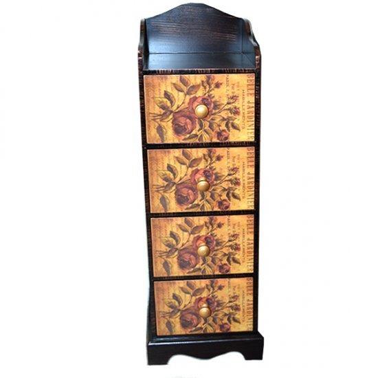 Mobilier de camera cu 4 sertare pictate cu model floral, din lemn