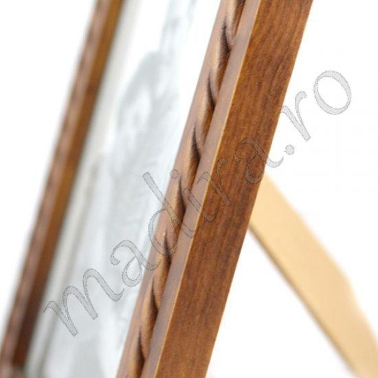 Rama foto maro din lemn cu ratan