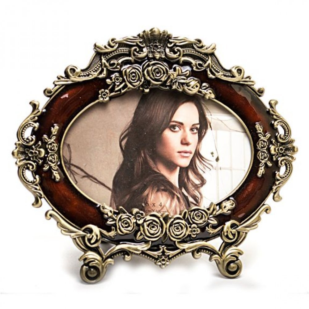Rama foto ovala, sculptata deosebit in stil baroc