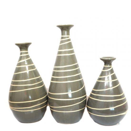 Set 3 vaze din ceramica gri cu alb