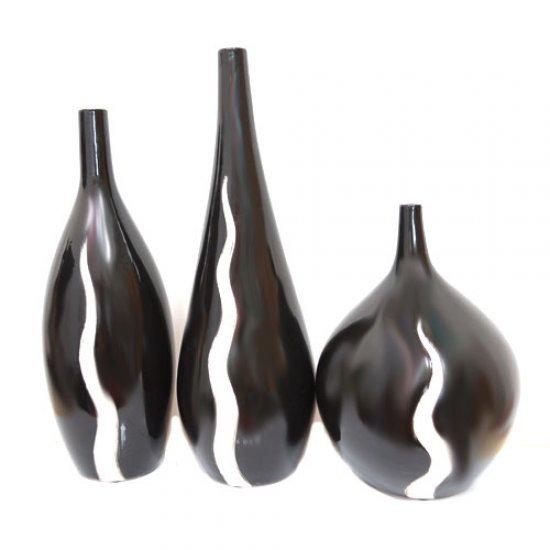 Set 3 vaze din ceramica negru cu alb