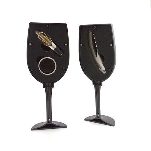 Set accesorii pentru vin in cutie in forma de pahar negru