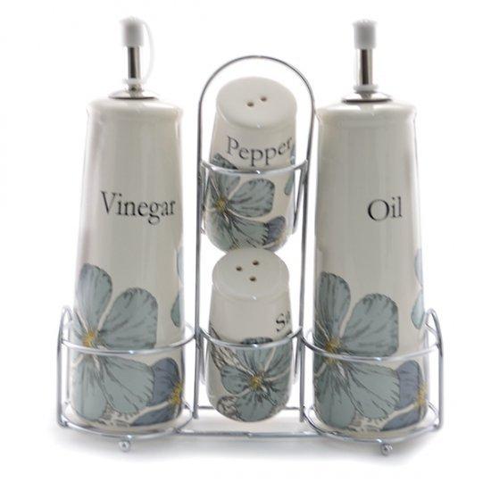 Set oliviere si solnite cu model floral in cadru metalic