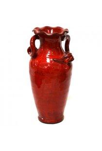 Superba vaza rosie, din ceramica, pentru flori