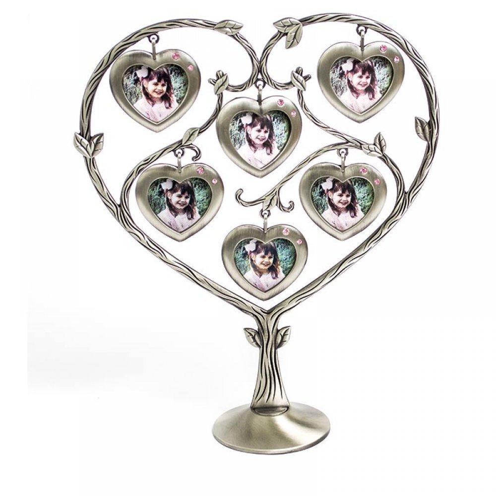 Suport din antimoniu pentru 6 fotografii, design sub forma de inima