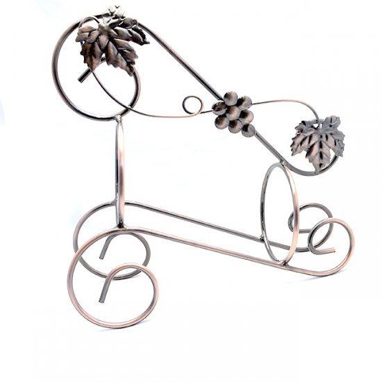 Suport pentru o sticla vin cu decoratiuni frunze si ciorchine de strugure