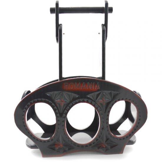 Suport pentru sticle din lemn negru