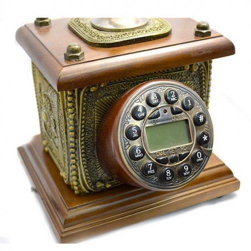 Telefon vintage cu lemn de mahon in forma patrata
