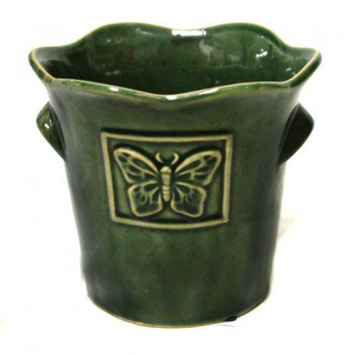 Vaza cu gura ondulata, model cu fluture in relief
